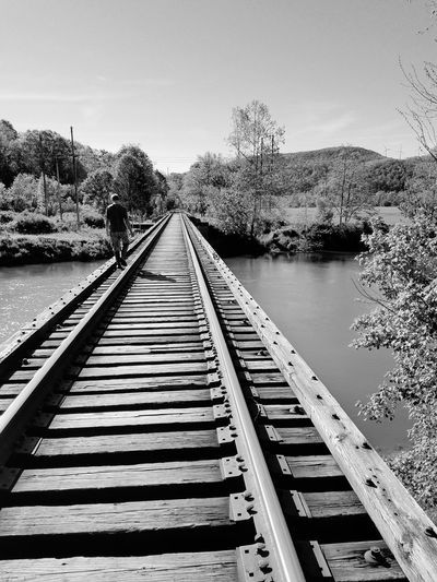 EyeEmNewHere railroad tracks trees forest woods river train lonely walk travel