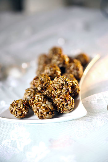 Close-Up Of Granola Balls In Plate