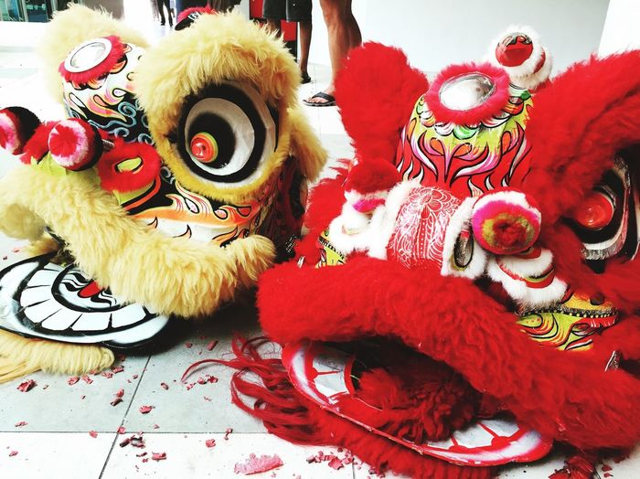 Lion Chinese New Year Chap Goh Mei New Year 2016 Lion Lion Dance Red Yellow Animals Pattern Pieces Malaysia Stressfree Stressreliever