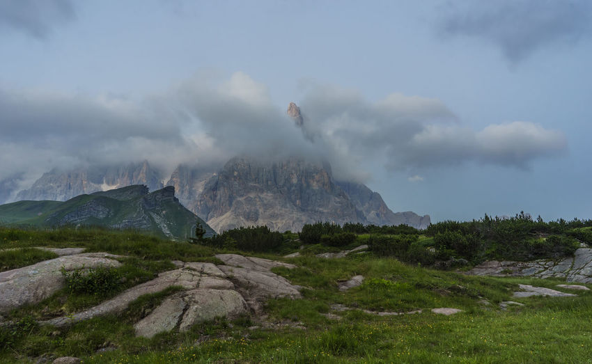 Cloud Cloudy Day Grass Green Color Hill Idyllic Landscape Mountain Mountain Range Nature No People Non-urban Scene Outdoors Passo Rolle Physical Geography Remote Rock Formation San Martino Di Castrozza Scenics Sky Tranquility Travel Destinations Trentino Alto Adige Weather