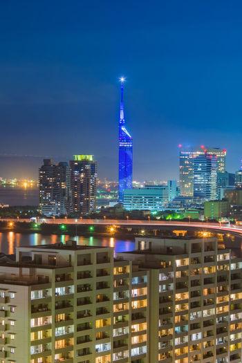 Beautiful night view cityscape of hakata at nigth in fukuoka, japan.