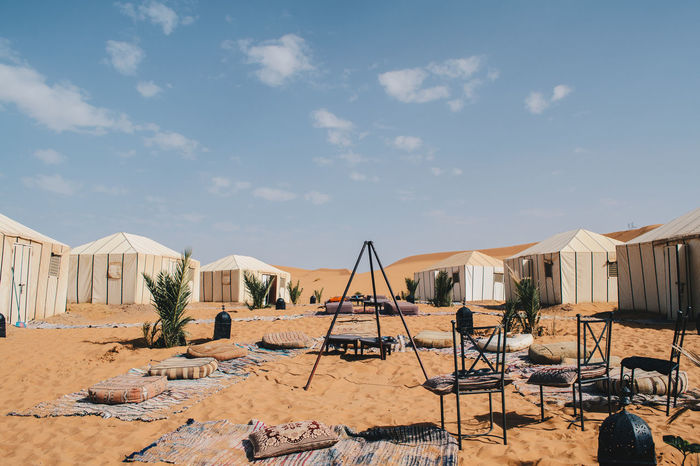 Overnight stay in Merzouga Camp Fire Camping Desert Dunes Hot Sahara Desert Travel Travel Photography Adventure Blue Sky Camp Site Day Explore Merzouga Morroco Nature No People Outdoors Sahara Sand Tents Travel Destinations