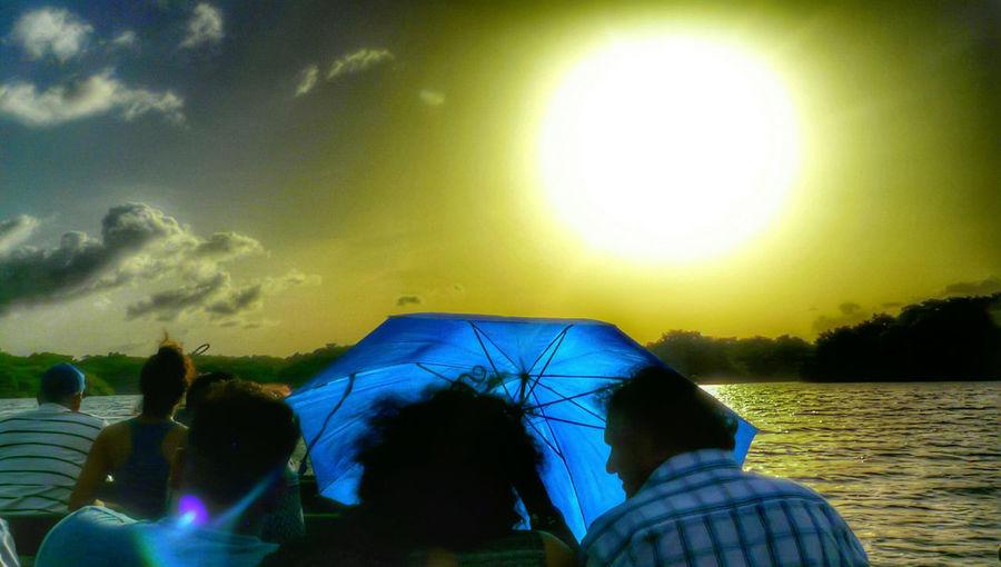 Sheltering the heat Trinidad And Tobago Boat Ride Caroni Swamp Bird Sanctuary Umbrella☂☂ Hdrphotography Feel The Journey