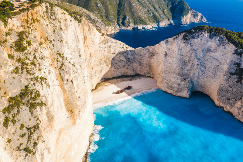 Beach of navagio or shipwreck smugglers cove is the most famous of zakynthos beaches