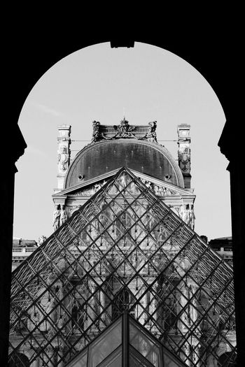The Louvre museum and its pyramids. France Louvre Louvre Pyramid Paris Pyramids The Louvre Museum  Architecture Blackandwhite Building Exterior Built Structure Day Dome Frenchphotographer Landscape Louvre Museum Louvremuseum Loves_france Loves_paris Low Angle View Musée Du Louvre No People OnlyinParis Parisjetaime Photography Travel Destinations