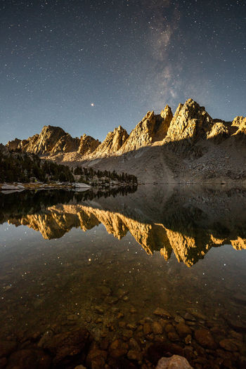 Infinite moment of truth JMT DAY 24 - MOONRISE AT KEARSARGE LAKES Moonrise at Kearsarge Lakes It's not often, but when everything is perfectly lined up, I see something magical unfold before my eyes. I simply stood at the shore while my gaze is locked on the fading Milky Way over Kearsarge Pinnacles that was lighting up by the minute. As if the curtain for the stage was being slowly lifted, the light was slowly spreading across the slopes. And soon my mind started drifting away. If I didn't see the shallow lake bottom, I could have not told apart which side is up. As if I were in space floating and watching the giant rock formation was suspended in in time. Infinite moment of truth. The galaxy will still be around even after we are long gone. Kearsarge Lakes, Kings Canyon National Park, CA Water Reflection Sky Tranquility Scenics - Nature Tranquil Scene Beauty In Nature Nature Lake No People Night Star - Space Space Astronomy Symmetry Idyllic Outdoors Rock Kearsarge Lakes Eastern Sierra Sierra Nevada Kearsarge Pinnacles Milky Way Galaxy Reflection Mars Stars Astrophotography Night Photography Moonrise Moon Glow Peaks Wilderness Backcountry Long Exposure