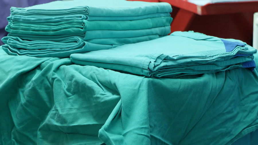 Stacked uniforms in hospital