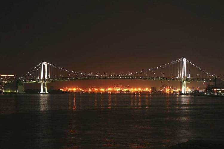 Illuminated Suspension Bridge Over River At Night