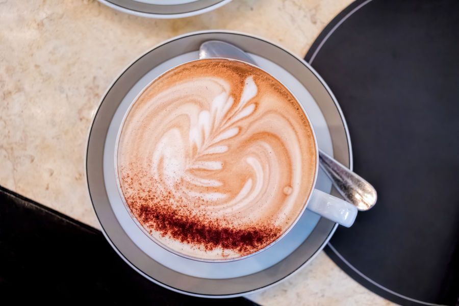 Coffee with latte art Beverage Breakfast Coffee Coffee Time Flat White Latte Brunch Cafe Cappuccino Cocoa Coffee Cup Drink Froth Art Frothy Drink High Angle View Hot Drink Latte Art Latteart Milk Pattern Refreshment Refueling Restaurant Top Down View Top Perspective