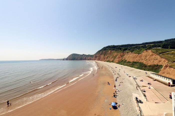 Jacobs Ladder beach in Sidmouth, Devon. Cliffs Devon Holiday Jacobs Ladder Sidmouth Beach Beauty In Nature Clear Sky Cliff Day Holiday Horizon Over Water Land Nature Outdoors Sand Scenics - Nature Sea Sky Tranquil Scene Tranquility Trip Uk Vacations Water