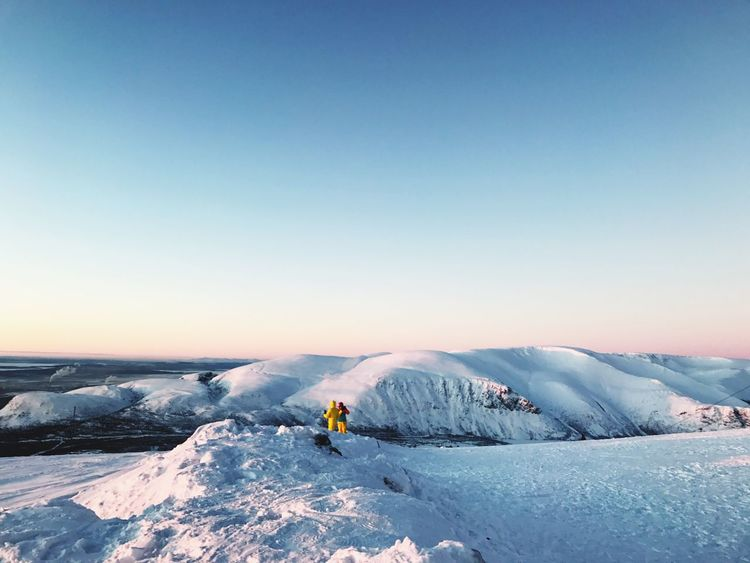 Winter Cold Temperature Snow Beauty In Nature Nature Scenics Clear Sky Landscape Frozen Outdoors Tranquil Scene Day Couple Sky хибины Mountain Powder Snow