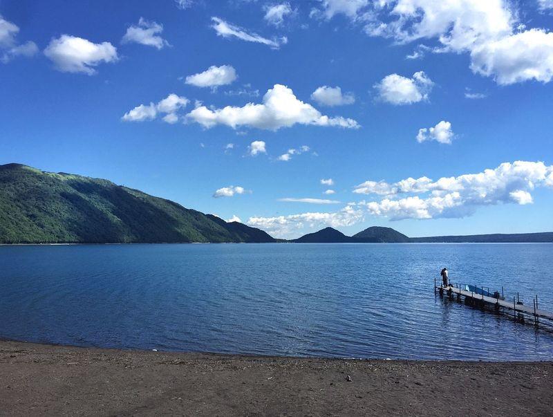Gone fishin' Hokkaido Shikotsu Lake Blue Sky Blue Water Blue Water Blue Sky Just Chillin' Peace And Quiet Clarity Clouds And Sky Gone Fishing