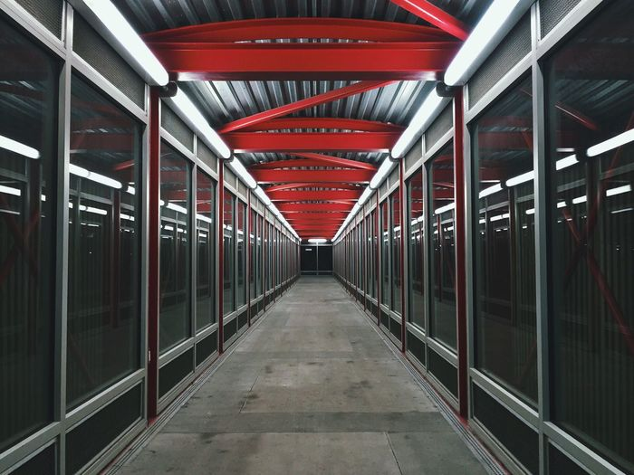 Covered Footbridge With Glass Walls