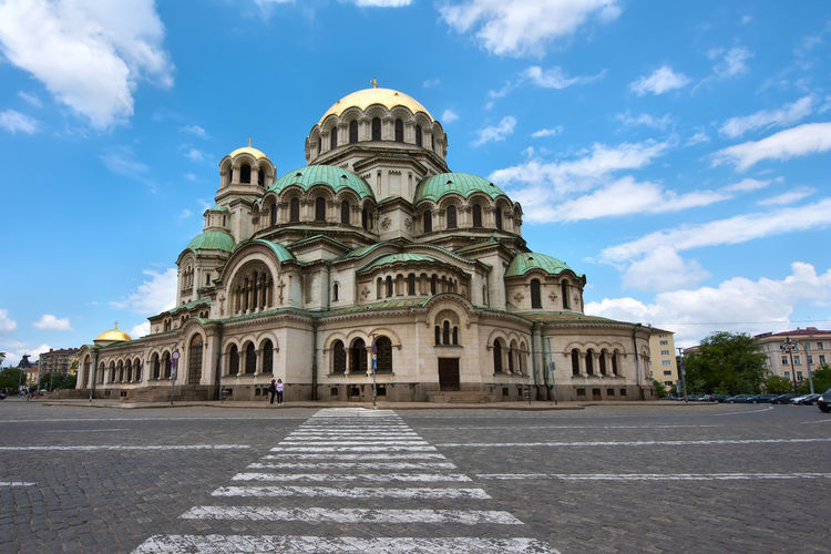 Alexander Nevski cathedral in Sofia, Bulgaria. Building Exterior Architecture Sky Built Structure Cloud - Sky Building Nature Travel Destinations History The Past Religion Day City Place Of Worship Travel Incidental People Belief Spirituality Arch Outdoors Cathedral Alexander Nevski Cathedral Sofia, Bulgaria