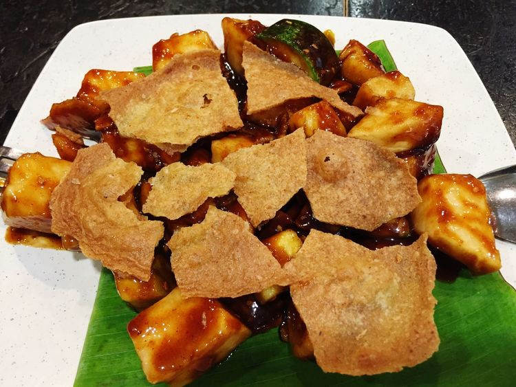 Rojak buah and keropok on top is ready to eat Rojak Buah Malaysian Food Mix Fruit Keropok