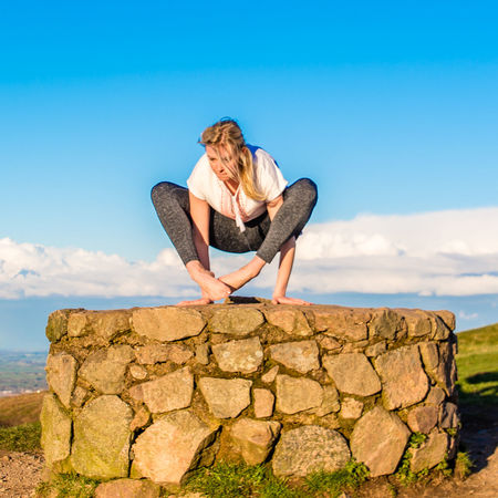 Young woman practicing yoga outdoors. Blue Sky Day Health Lifestyles Outdoors Outdoors Photograpghy  Sky Yoga Yoga Pose Yoga Practice Yogagirl Young Woman