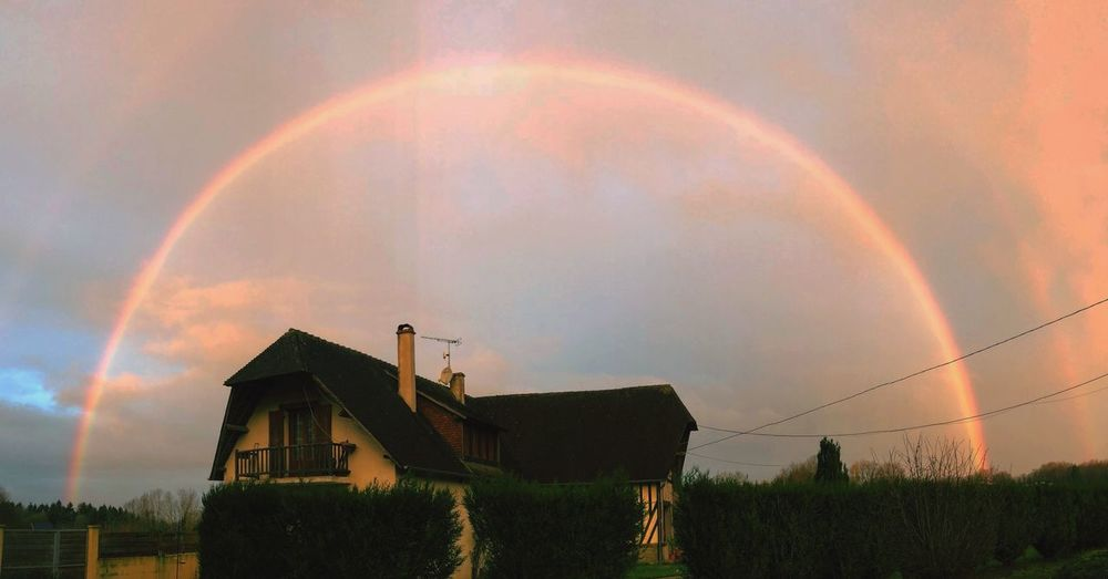 #HomeSweetHome #🌈 Built Structure Double Rainbow Building Exterior Architecture Nature No People Beauty In Nature Day Scenics Cloud - Sky Outdoors
