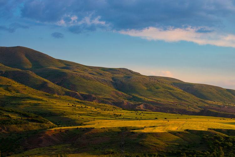 Landscap of the hills at sunset