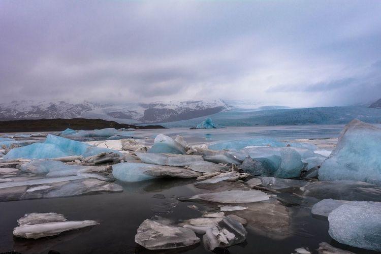 Isländische Landschaft Icelandic Nature Blue Ice Glacier Ice Tongue Iceberg Iceland Ice Cold Temperature Water Frozen Sea Glacier Winter Snow Landscape Nature