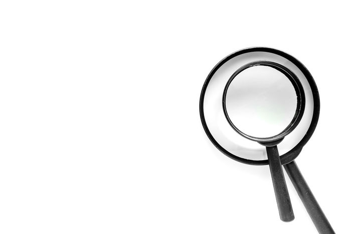 Enlarge Experiment Magnification Research Scale  Copy Space Discovery Education Find Focus Inspection Lens Magnifier Magnify Magnifying Glass Optical Search Tool White Background Zoom