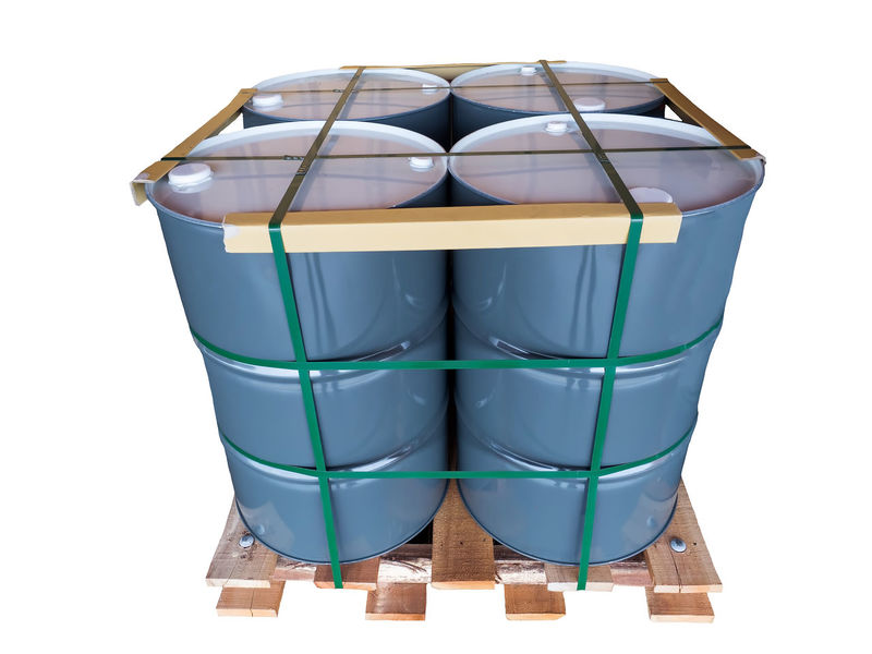 Gray Metal Oil Drums on pallet Isolated on White Background. Drum Fuel Isolated Stack Barrel Bin Chemical Close-up Danger Day Energy Gray Industrail Lashing Lubricant Metal No People Oil Pallet Studio Shot Tank Toxic Warehouse White White Background