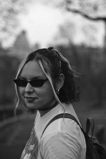 Central Park, 2018 Glasses Sunglasses Fashion One Person Focus On Foreground Headshot Real People Portrait Lifestyles Young Adult Leisure Activity Casual Clothing Day Women Young Women Females Adult Close-up Outdoors Hairstyle Central Park Retro Fashion Black And White Short Hair