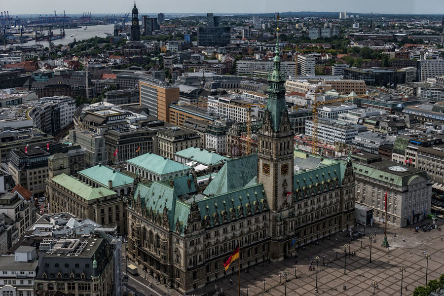 Townhall Hamburg Aerial View Architecture Building Exterior Built Structure City Cityscape Day Hamburg High Angle View No People Outdoors Townhall Hamburg