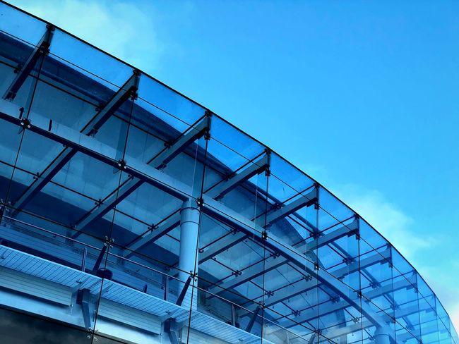 Minimalism Geometric Shape Sky Built Structure Low Angle View Architecture Building Exterior Blue No People Building Modern Development Copy Space Metal City