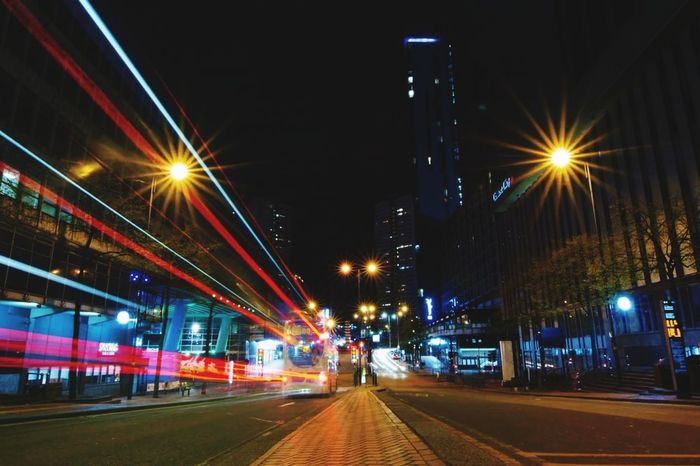 Night Illuminated Architecture Building Exterior City Street Light Built Structure Road Street Motion Transportation Speed Long Exposure City Life No People Bus Travel Destinations Sky Traffic Outdoors Bridge - Man Made Structure