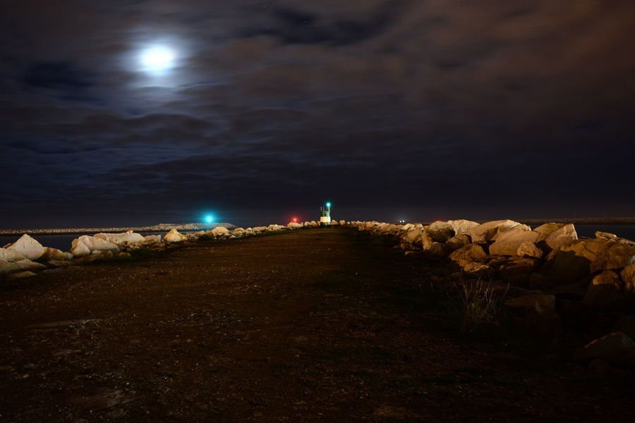 Night Beach People Illuminated Sky Two People Outdoors Landscape Only Men Astronomy Figueiradafoz Figueira Da Foz, Portugal Clouds Clouds And Sky Cloudscape Nightphotography Céus E Nuvens Mar Horizon Over Water No People Walkway Rock Stone Wall