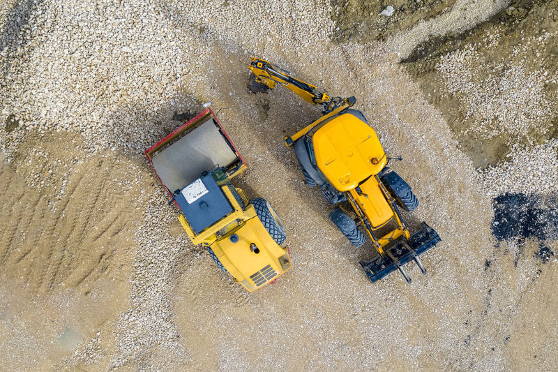 High angle view of yellow construction site at beach