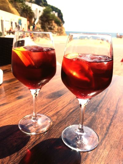 Sangria! Goodlife Algarve Enjoying Life EyeEmNewHere Refreshment Alcohol Food And Drink Drink Glass Wine Table Cocktail