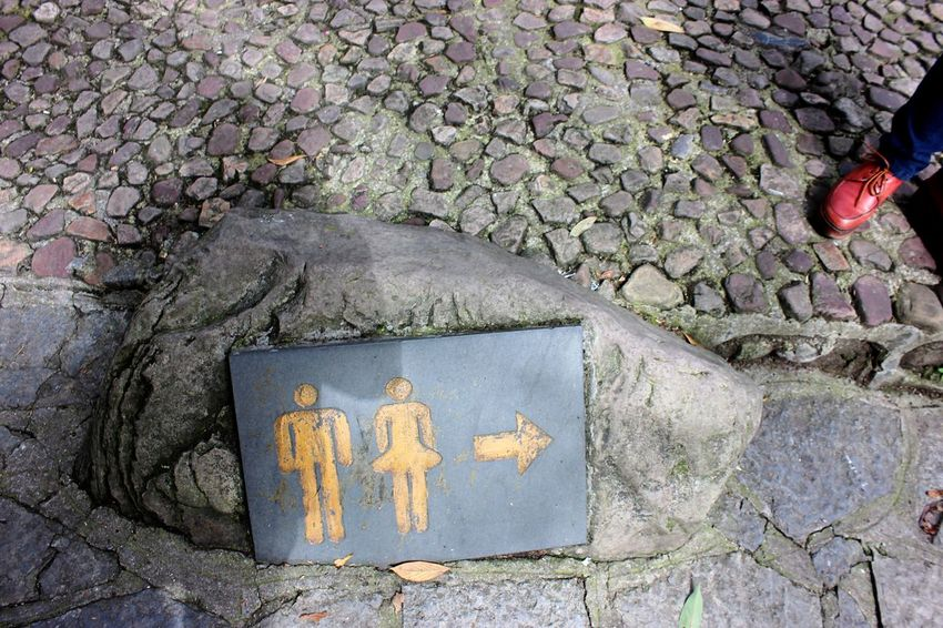 Two Is Better Than One Man And Woman Two People Sign Rock Rock Sign Zhangjiajie China Restroom Point Arrow Stone Ground Floor Pattern Shape Material Texture A Bird's Eye View