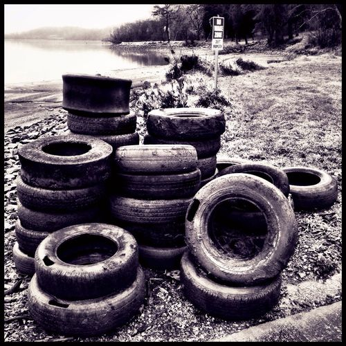 Pollution In My World Tires Lake Trash