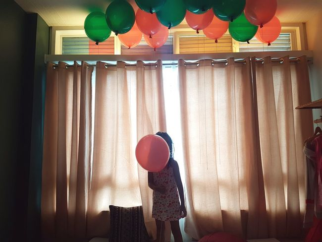 Eyeem Philippines Green Pink Balloon Curtain Day Helium Balloon Home Interior Indoors  Mobilephotography No People