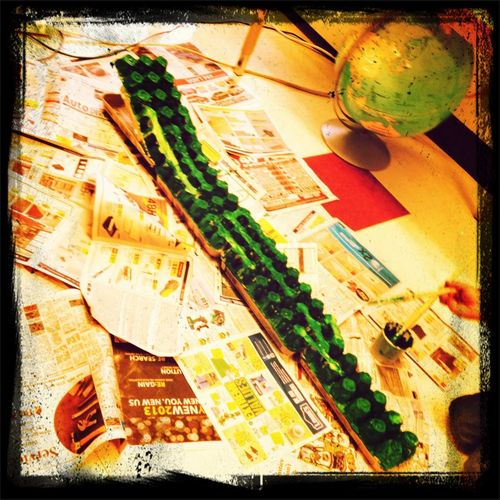 Crocodile in the works using egg cartons! Love the creative minds!! ☺