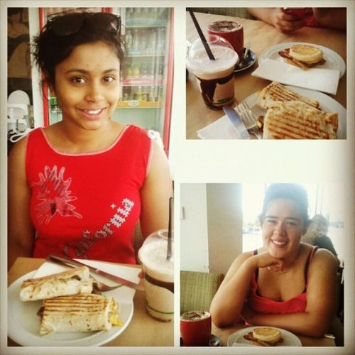 Late breakfast with Gaby after our long morning exercise!EnglishMuffin BreakfastRoti Coffee ChocMilkshakeThisIsOurSummer Fitness Time