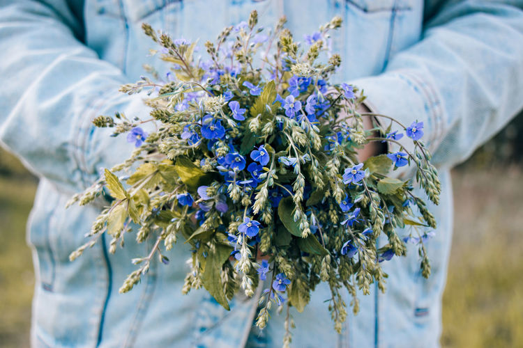 Close up bouquet of blue wild flowers in hands