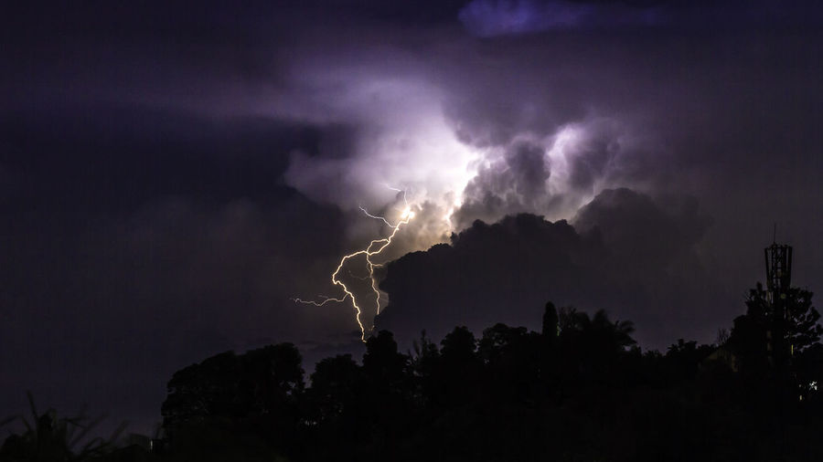 A dark and stormy night. Beauty In Nature Dramatic Sky Forked Lightning Illuminated Lightning Lightning Bolt Lightning Strike Low Angle View Nature Night No People Outdoors Power In Nature Silhouette Sky Storm Storm Cloud Stormy Weather Thunder Clouds Thunderstorm Tree Weather