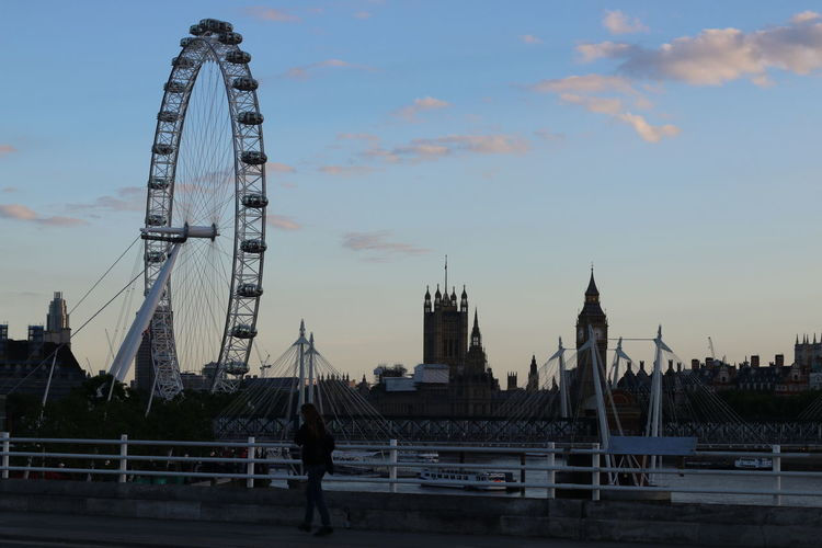 Woman Walking On Footpath With London Eye And Big Ben In Background