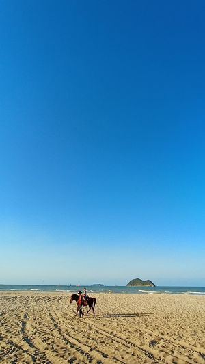 Scenic view of people on desert against clear blue sky