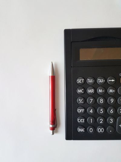Calculator White Background Old-fashioned Number Retro Styled Close-up Analog Information