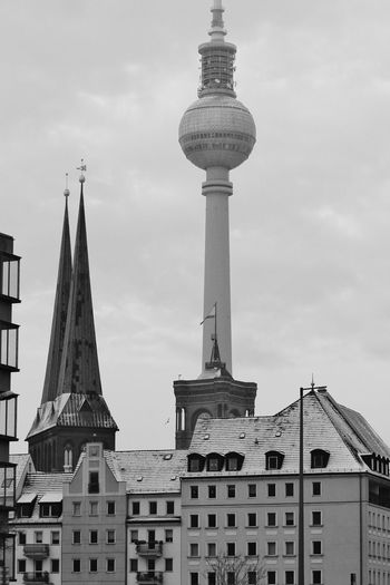 2014 Berlin Mitte Winter Fernsehturm Alexanderplatz Architecture Kirche Built Structure Building Exterior Tower Building Tall - High City Outdoors Skyscraper No People Day TV Tower Cold Temperature Sky Cloud - Sky Low Angle View Global Communications Office Building Exterior Tourism
