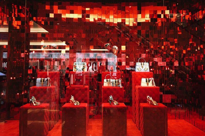 Dubai Red Travel Photography UAE Emirates Illuminated Indoors  Night No People Red Red Shop-window Shop-window Vitrine