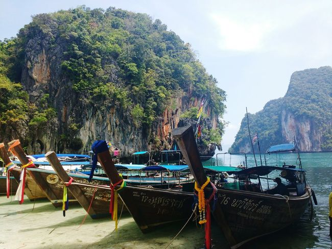 Beach Nature Water Sea Small Boats Colorful Barcas Thailand Sailing Typical Rocks Vegetation Thai Boat Transportation