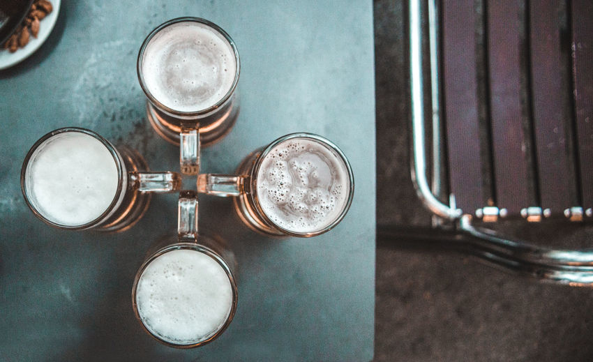 Close-Up Of Beer Glasses On Table