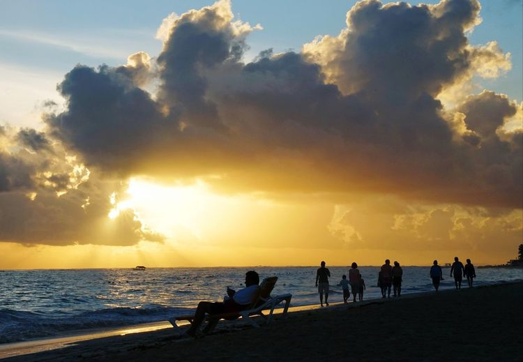 sunrise on the beach Sunset Beach Silhouette Sea Cloud - Sky Sky Vacations Horizon Over Water Sunlight People Sun Wave Outdoors Sand Water Nautical Vessel Sport Togetherness Adult Full Length