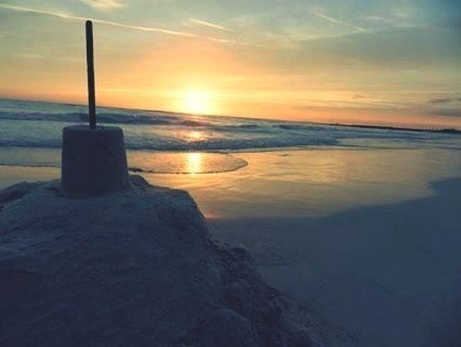 Building A Sand Castle Sunset