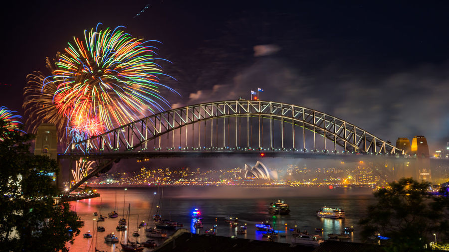 Sydney Harbour Bridge Fireworks Display during New Year eve 2017 Bridge - Man Made Structure City Cityscape Firework Display Harbor Horizontal Landscape Midnight Multi Colored New Year New Year's Eve Night Outdoors People Scenics Steel Water My Year My View