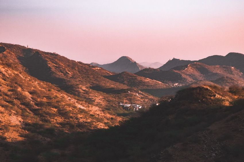 Aravalli landscape Mountain Beauty In Nature Scenics - Nature Sky Nature Landscape No People Environment Tranquil Scene Tranquility Outdoors Plant Sunset Mountain Range Land High Angle View Pink Color Non-urban Scene Idyllic Tree
